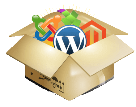 Box with symbols of contant management systems wordpress, Joomla, Magento, modx