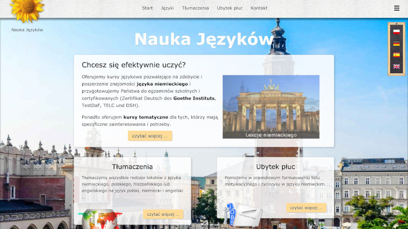 Website Nauka Języków  in different screenshots with different media