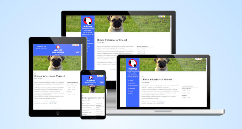 Website Viñavet for veterinary praxis in different screenshots